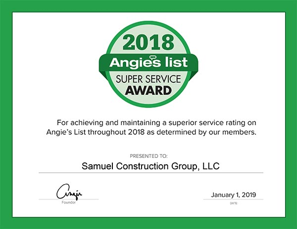 Angies List certificate